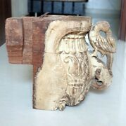 Antique Wooden Hand Carved Peacock And Elephant Figurine Door Side Bracket Rare