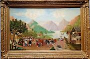 Antique 19th C.fine Art Oil Painting By Joseph Mager Lucerne Switzerland Framed