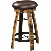 Barrel Bar Stool With Leather Swivel Seat Amish Made Reclaimed Wood