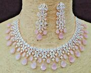 Bollywood Style Silver Polish Indian Jewelry Cz Bridal Choker Necklace Pink Set