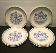 Lot Of 8 Figgio Norway Vf555 Coupe Turi 4 Man And 4 Girl Lotte Luncheon Plates