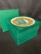 Set Of 8 Lenox Fine China Colonial Christmas Wreath Plates In Original Boxes