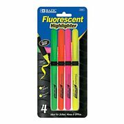 Bazic Pen Style Fluorescent Highlighters W/ Cushion Grip 4/pack