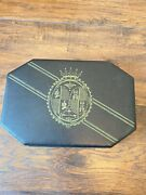 Shields Black And Gold Mens Faux Leather Jewelry Box Vintage