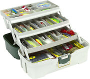 Large Fishing Tackle Box With 3 Tray Full Travel Holder Pack Handle-locking New
