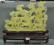 17chinese Fengshui Natural Xiu Jade Jadeite Carved 8 Horse Steed Success Statue
