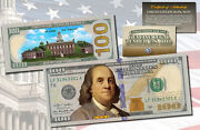 One Hundred Dollar 100 Us Bill Genuine Legal Tender Currency Colorized 2-sided