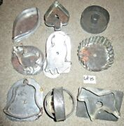 9 Vintage Tin Soldered Flat Back Cookie Cutters, Bird, Horse, Bell, Duck