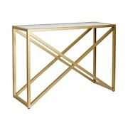 Hennandhart 30and039 Geometric Metal Console Table In Brass