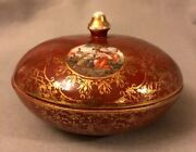 Vintage Mid-century Marks And Rosenfeld Covered Bowl Porcelain Box Watteau Pattern