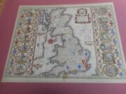 100 Original Large Saxon Heptarcy Map By John Speed C1676 Vgc Hand Coloured