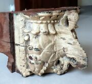 Ancient Old Wooden Hand Carved Peacock And Elephant Figurine Door Side Bracket