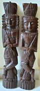 2 Pair Antique Wooden Hand Carved Indian Tribal Man Musician Putali Statue Sculp