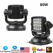 80w Spot Beam Led Search Light Off-road Marine Boat Car Wireless Remote Us Stock