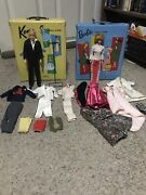 Vintage 1961 Ken Doll And Bubble Cut Barbie Doll 2 Cases And Clothes