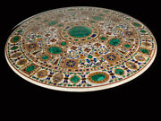 48 Marble Center Dining Table Top Handmade Semi Precious Stone Floral Inlay