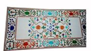 Marble Dining Table Top Floral Inlay Handcrafted Work