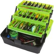 Large Fishing Tackle Box With 3 Tray Full Travel Holder Pack Handle- Green/black