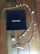 New With Tag Very Rare Amazing Pearl With Crystals Gold Belt Necklace