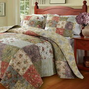 French Country Cottage Patchwork Quilt Bedspread Set Oversized To The Floor