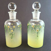 Pair Vintage Hand Painted Apothecary Glass Bottle Tcw Perfume Lot 2