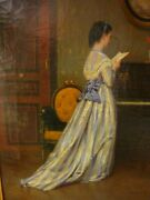 Antique Signed 1870 Alboy Rebouet Victorian French Frame Oil Piano Painting