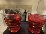 Cranberry Glass Pair Vases, Etched Glass Rims. Crystal Ruby Red, 7 Inches High