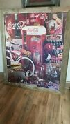 Giant Coca Cola Finished Jigsaw Puzzle Mounted Rustic Wood Framed 40 X 48 2