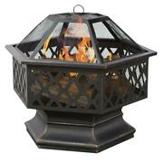 Uniflame Fire Pit Wood Burning Yard 24 Inch Hex Shaped Lattice Oil Rubbed Bronze