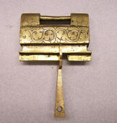 Original Antique Chinese Engraved Brass Cabinet Lock 1800 Key 2.7 In W By 2 In H