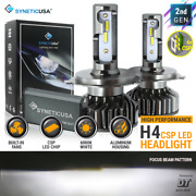 Syneticusa H4 9003 Led Headlight Kit High Low Beam 6000k White Light Bulbs