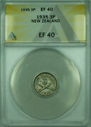 1935 3p New Zealand Anacs Ef 40 3 Pence Silver Coin Km1