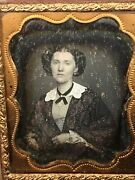 1/9 Plate Daguerreotype Photo Beautiful Young Woman Tinted Red Cape Gold Jewelry