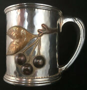 Whiting Mixed Metal Sterling Silver Mug / Cup Circa 1881 Insect Fruit