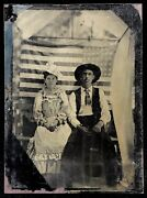 1/6 Plate Tintype - 42 Star American Flag - Super Rare Unofficial Flag From 1889