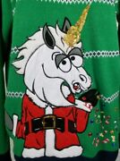 Ugly Christmas Sweater Size Xl Green Santa Unicorn Sequins Candy Jolly Sweaters