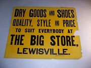 Antique Vintage The Big Store Lewisville Dry Goods And Shoes Cardboard Sign