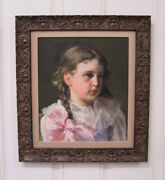 Charming Oil On Rough Canvas Portrait Of A Sweet Faced Little Girl By Fannie Bur