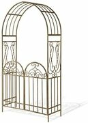93 Inch Garden Accents Metal Collection Rust Brown Arch With Gate Christmas Item