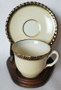 Rare Lenox Demitasse Cup And Saucer In Ivory Blue Gold, Circa 1930-1952