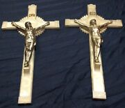 Lot Of 2 Mcm Plastic Faux Mother Of Pearl Crucifix With Chromed Christ 12 X 6