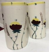 Pair Of Two Vintage 60and039s Hand Painted Glazed Ceramic Glasses Tumblers -flowers
