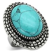 Ladies Turquoise Ring Blue Big Cocktail Stainless Steel Statement Sale New 1022