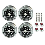 Magnum 500 Wheels Kit With Red Ford Crest Caps And Lug Nuts 15 X 7