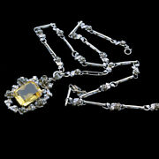 Arts And Crafts Necklace Pendant On Chain Sterling Silver Citrine Germany 6630