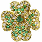 Emerald Diamond Four Leaf Clover Lucky Charm Pendant In 14k Gold 2.00 Ct Tw