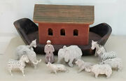 Large Antique Folk Art Carved Wood Noahand039s Ark With Chalkware With 11 Pcs Figures