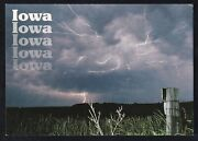 Iowa Get A Charge Out Of It Lighting With Thunderstorm Postcard Unposted.