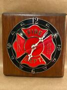 Vintage Fire Department Clock W/ Wood Backing Metal Face Ramar Indust Inc Tested
