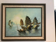 Signed C. Chan Original Oil Painting On Canvas Chinese Junks Fishing Boats